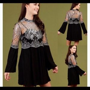 Altar'd State Black and Silver Sequin Dress